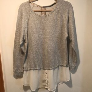 Gray sweatshirt with faux sheer shirt contrast